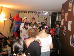 Me crashing a Halloween Party in Toronto. Cool party. You can see the back of my head and my crooked pig tails.