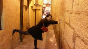 Fooling around on the narrowest street in Paris, Rue du Chat-qui-Pêche. Not so stylish but oh, so fun!